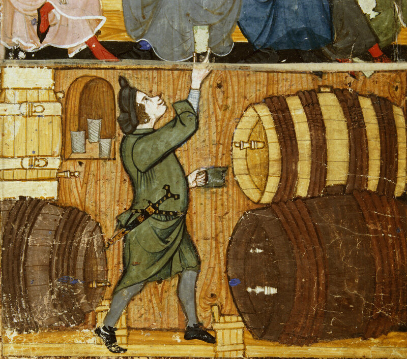 A cellarer handing a glass to drinkers in a room above.