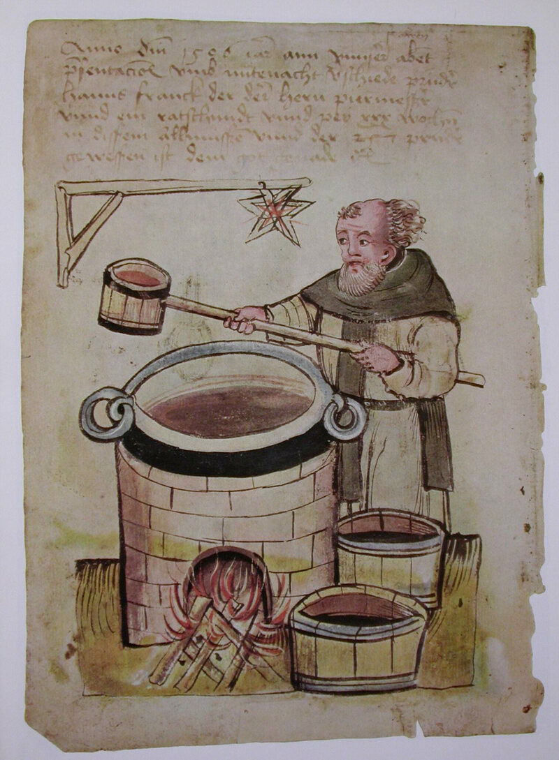 A medieval monk brewing beer, from <em>Die Nürnberger Hausbücher</em>, 1506.