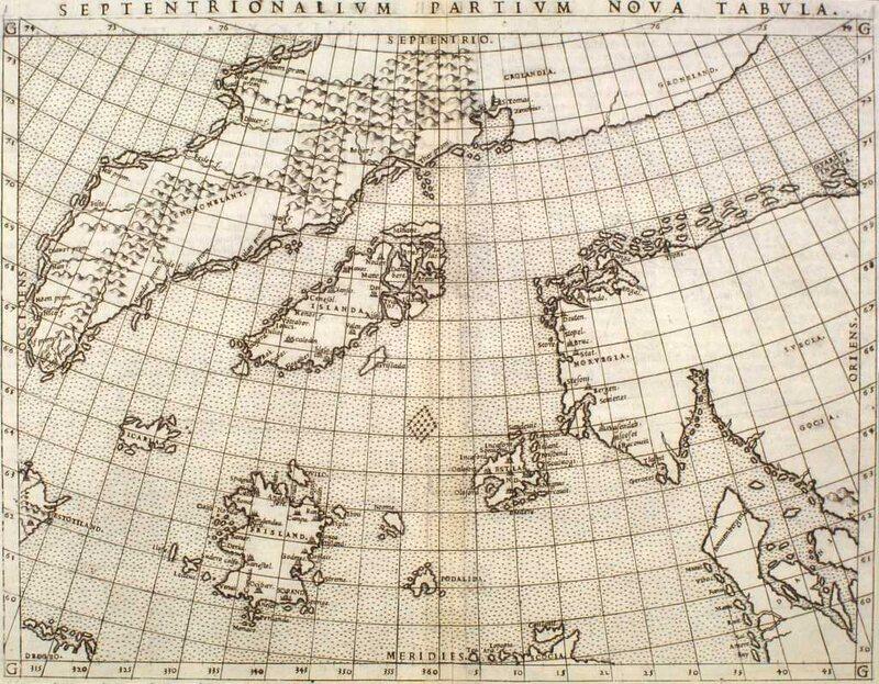 """<em>Septentrionalivm partivm nova tabvla</em>, by Nicolo Zeno, showing """"Frisland,"""" 1561."""