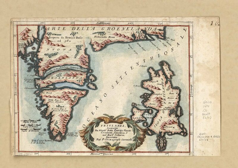 Map of Iceland with part of Greenland by Venetian Vincenzo Coronelli, 1592.