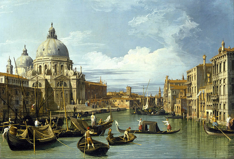 <em>The Entrance to the Grand Canal, Venice</em>, painted by Canaletto, c. 1730.