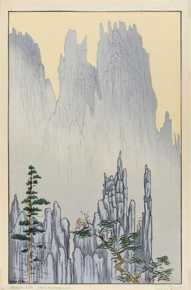 <em>Oriental Cliffs, Diamond Mountain, Korea</em>, printed 1928.