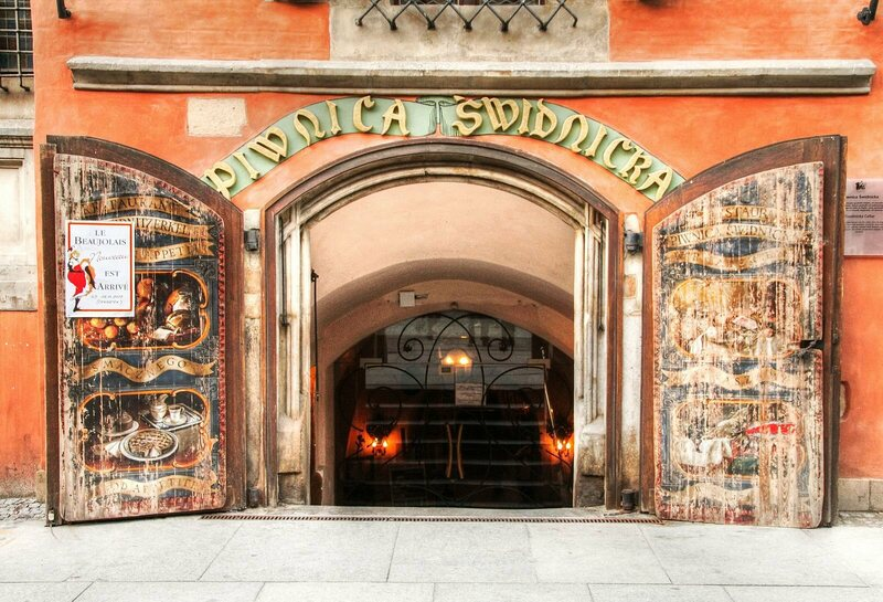 The entrance of Piwnica Świdnicka, the restaurant at the site of the Wrocław municipal brewery.