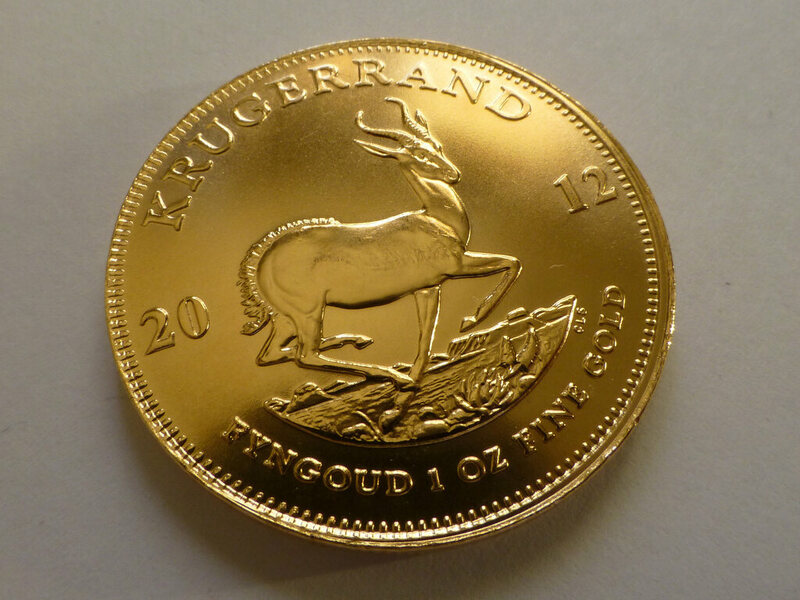 The pronking springbok on the reverse side of a Krugerrand.