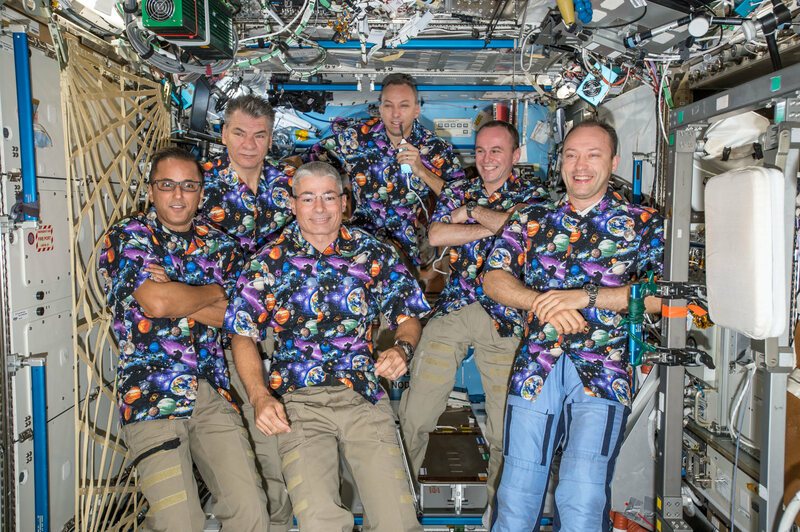 The Expedition 53 crew, clad in excellent matching shirts.