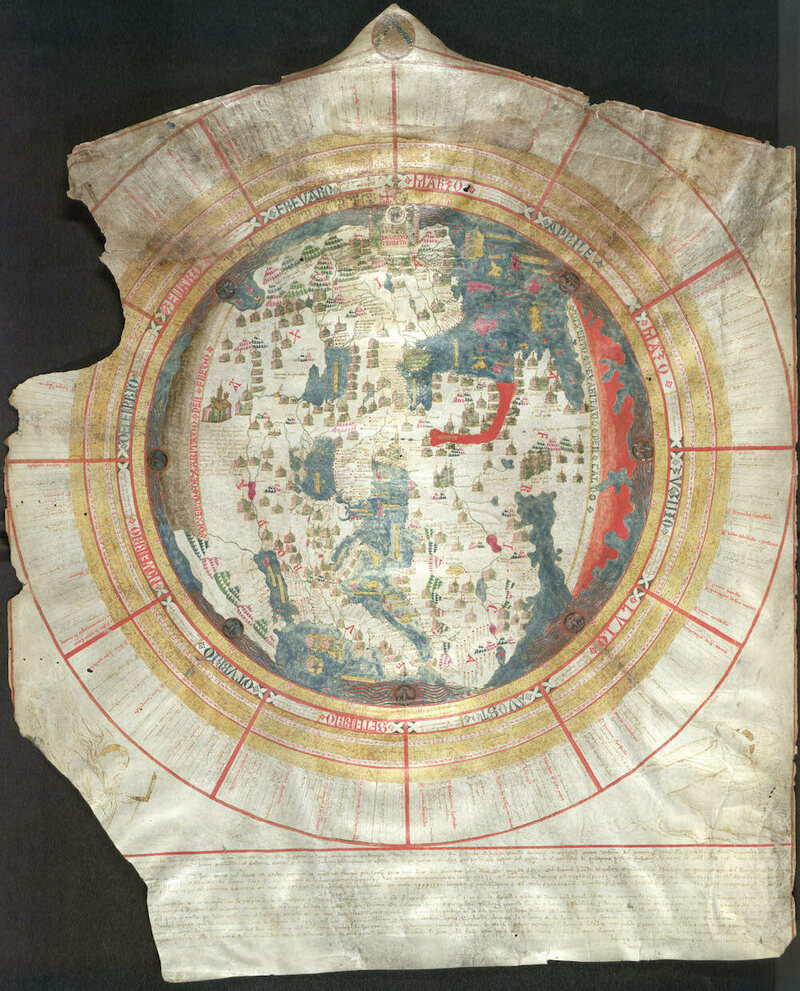 A medieval map of the world.