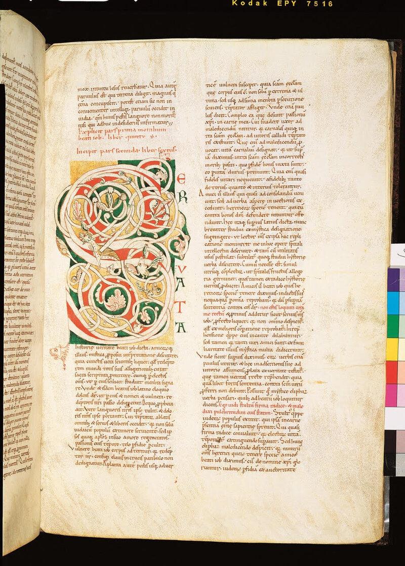A 12th-century manuscript of St. Gregory's <em>Moralia in Job</em>.
