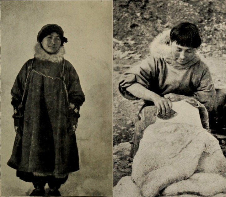 Two images of Ada Blackjack: left, in winter gear, and right, removing blubber from a sealskin.