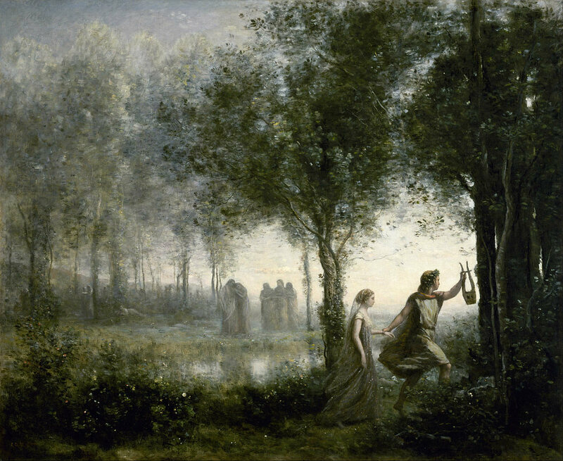 <em>Orpheus Leading Eurydice from the Underworld</em>, by Jean-Baptiste Camille Corot.