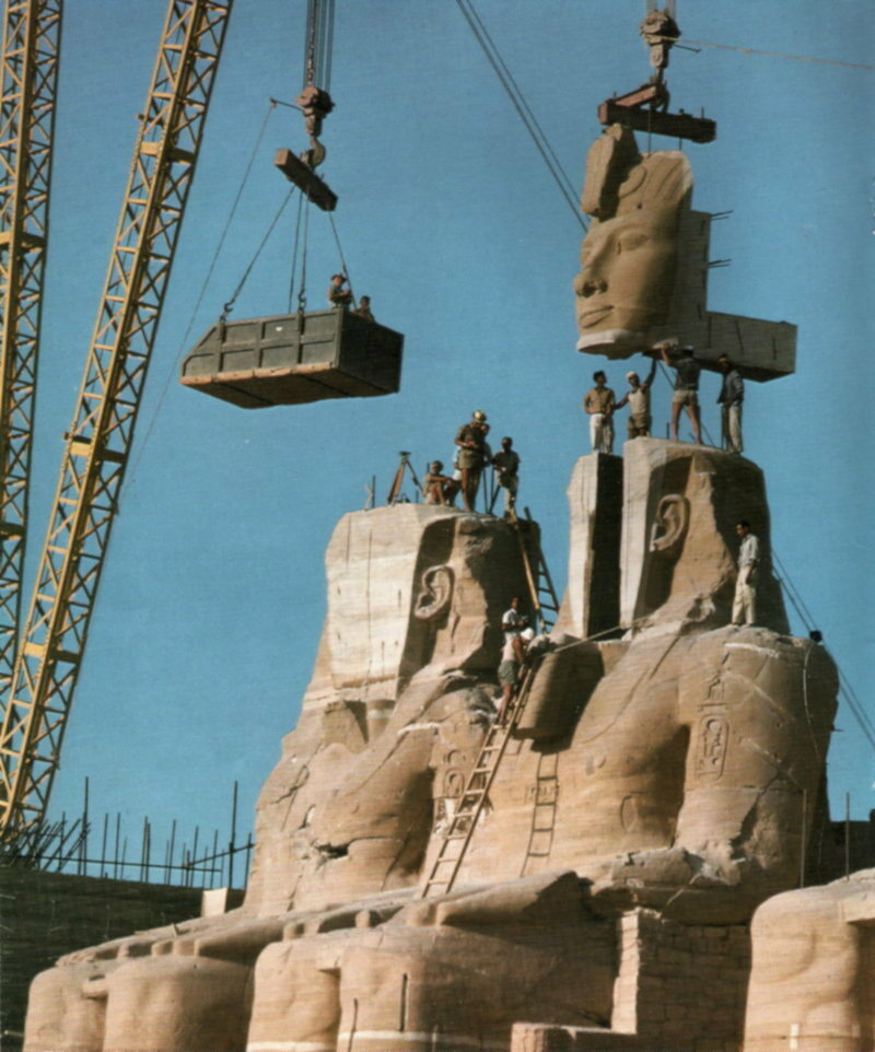 Moving the colossal stone structures of Abu Simbel in Egypt.