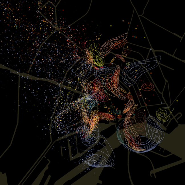 A smellmap of Amsterdam by English artist and researcher Kate McLean.