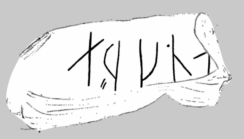 "A sketch of the whetstone containing the ""æ, r, k, n, a"" runes."