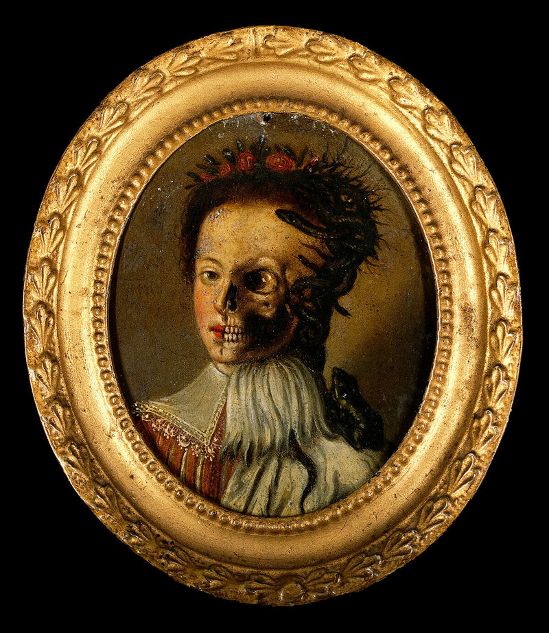 <em>Life and Death</em>, oil on copper, 17th century.