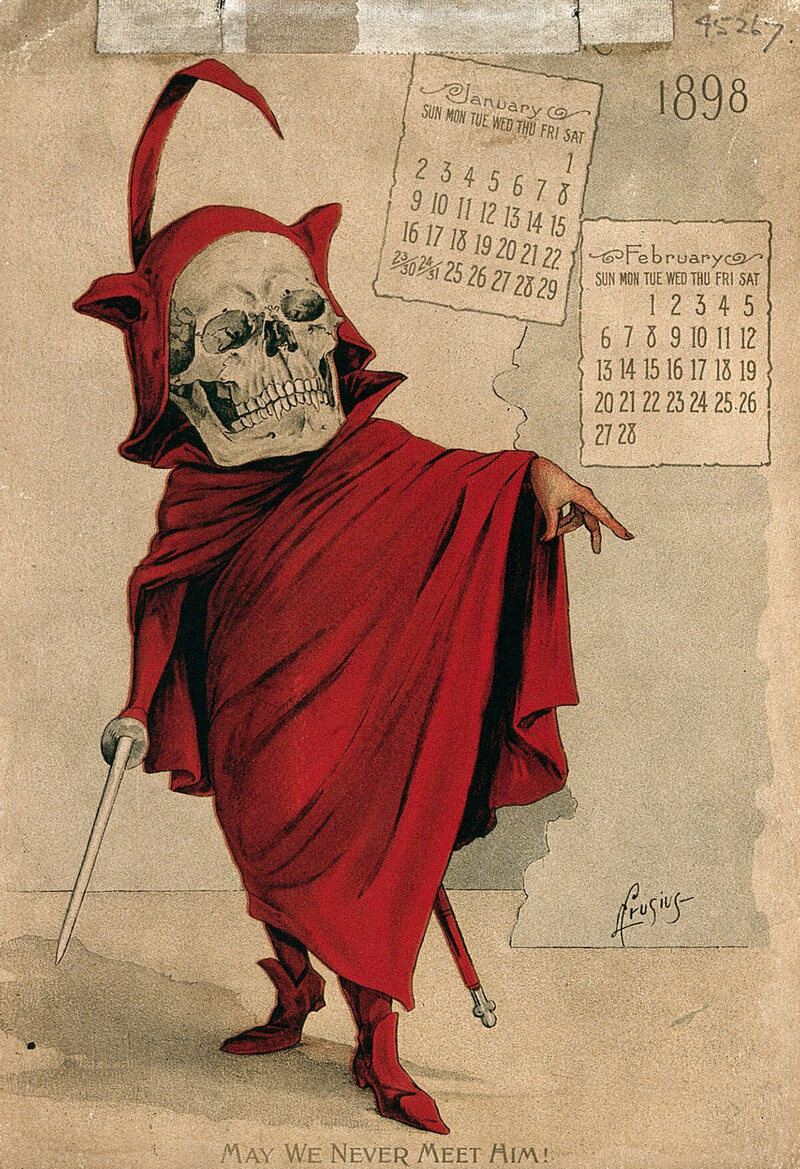 Page from the skeleton-themed calendar issued by the Antikamnia Chemical Company of St. Louis, Missouri, 1898.