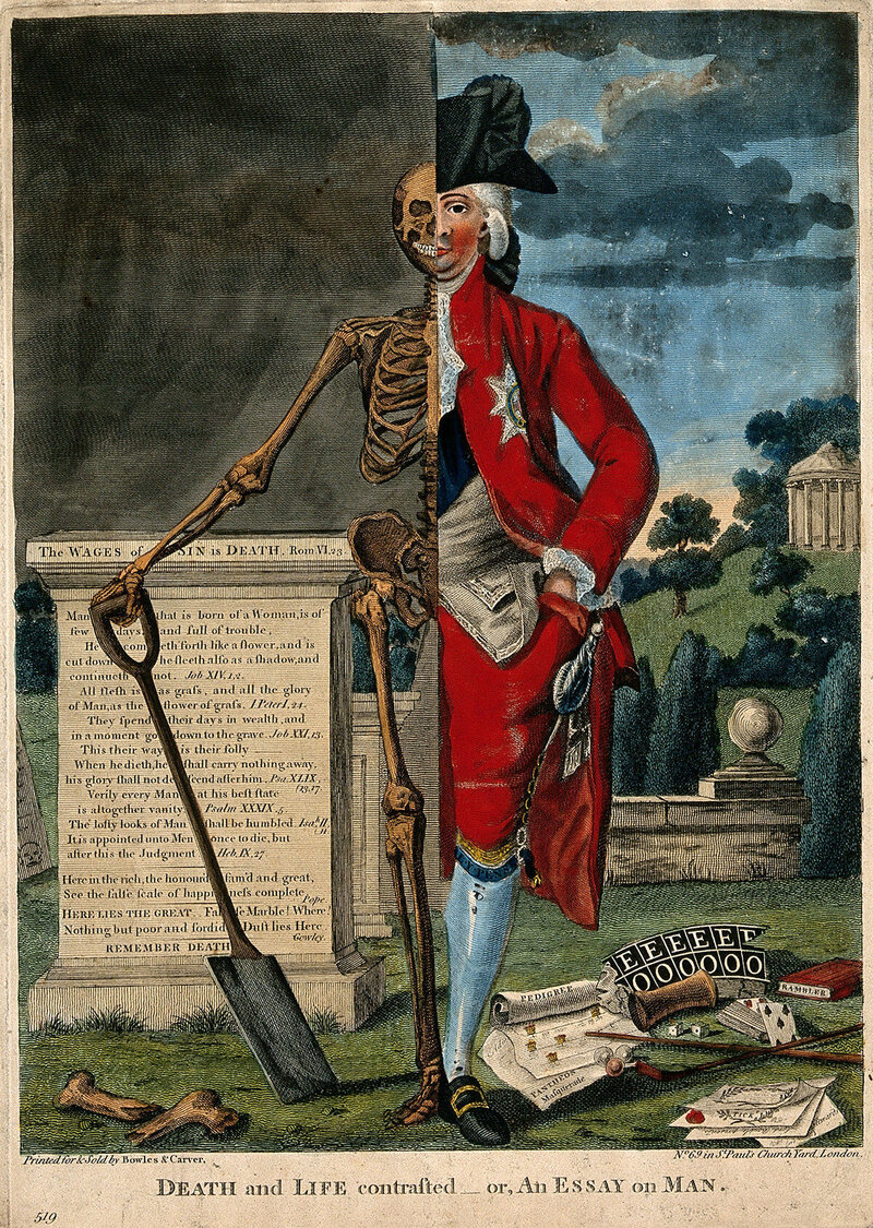 An etching of a nobleman and his skeleton in front of a plinth inscribed 'The Wages of Sin Is Death,' 18th century.