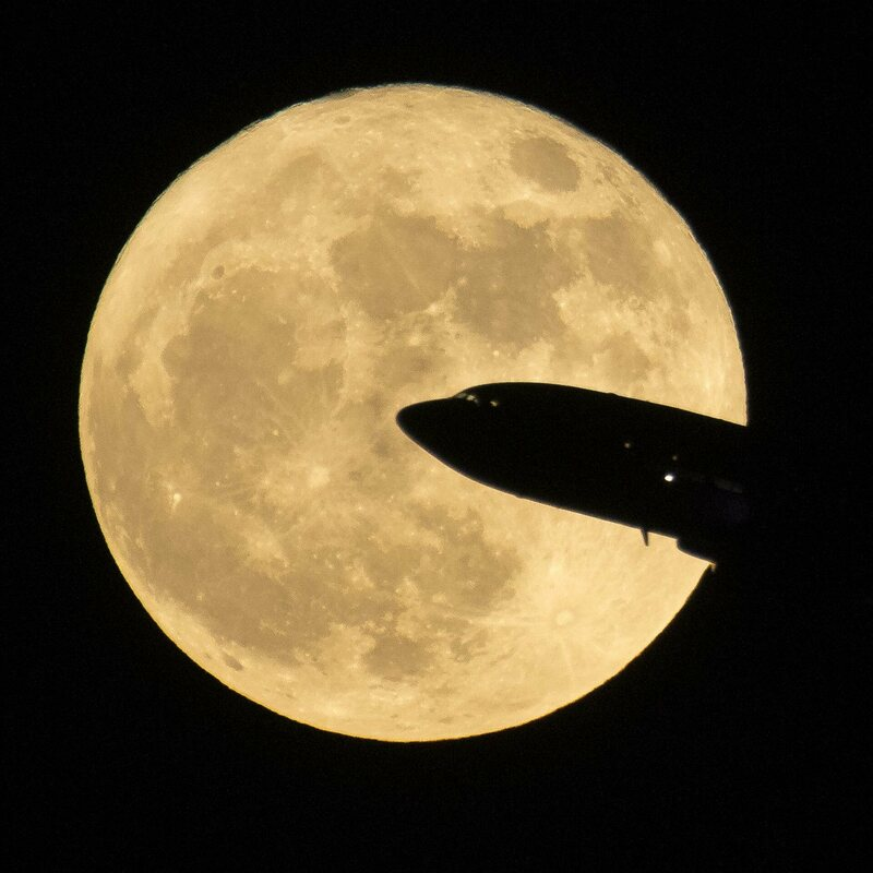 The super moon, viewed from Ronald Reagan National Airport in Washington, D.C., December.