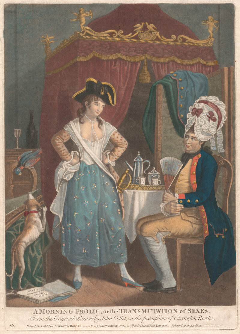 An 18th-century engraving, <em>A Morning Frolic, or the Transmutation of the Sexes</em>, shows two people in various stages of drag.