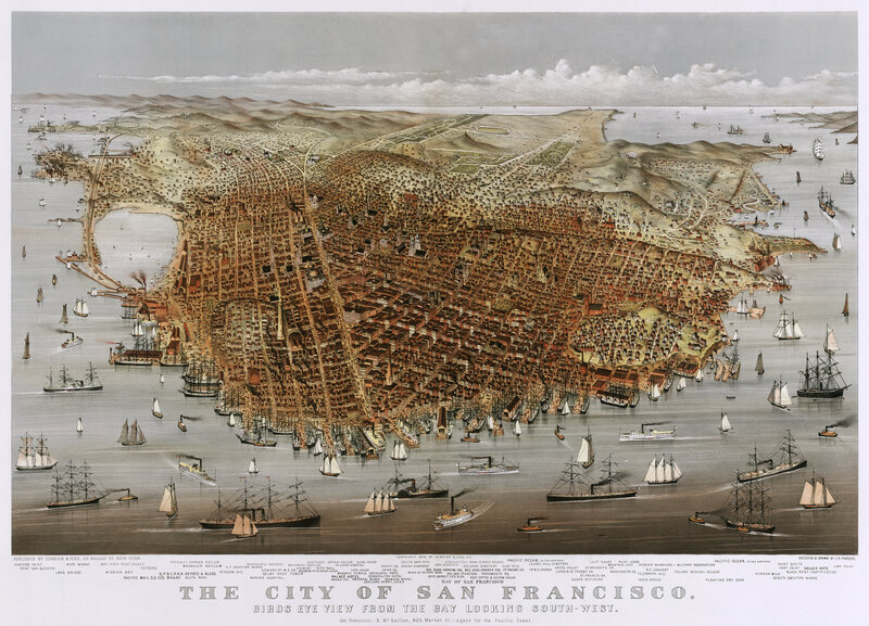 A panoramic view of San Francisco in 1878.