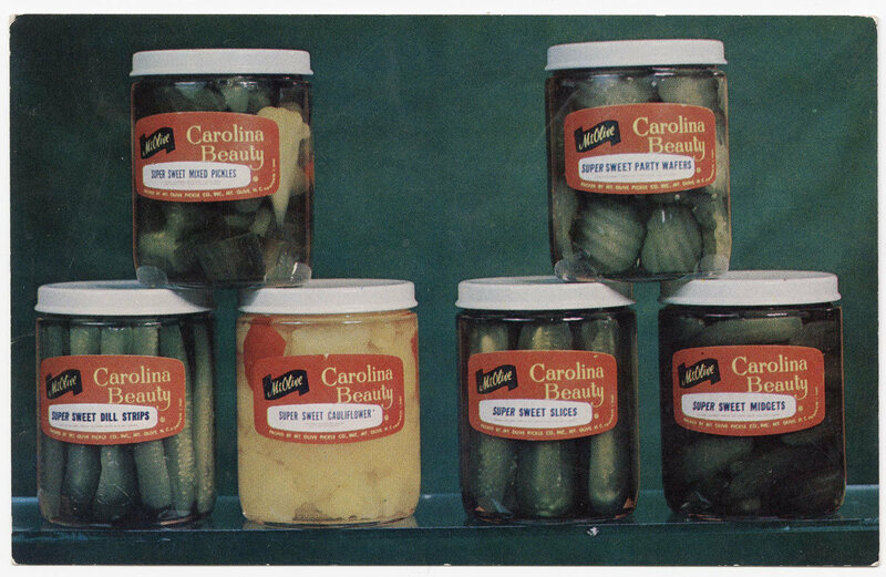 Mrs. Fisher's knack for making pickled goods earned her accolades and awards. Pickles (pictured here circa 1960) remain a pillar of southern cooking.