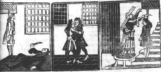 A 1707 broadsheet illustration shows two men embracing. On the left, one cuts his throat when his friend is hanged. On the right, a man is cut down from the gallows.