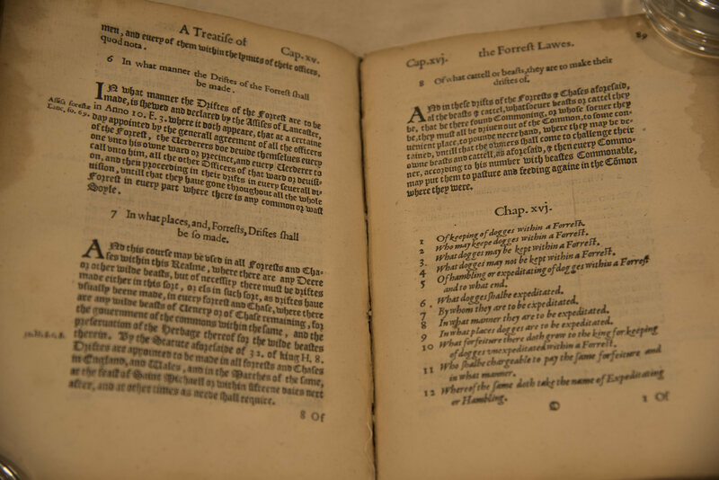 The 1598 edition of John Manwood's <em>Lawes of the Forrest</em>, from the Kennel Club library.