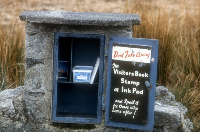 An old photo of the Cranmere Pool letterbox in Dartmoor, built by James Perrott.