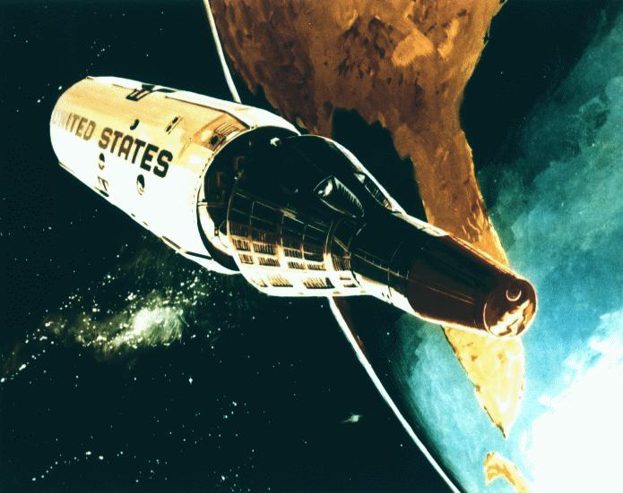 An artist's rendering from 1966 of a reentry capsule separating from the Manned Orbiting Laboratory.