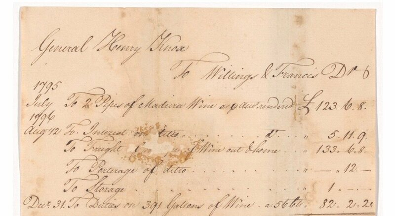 A receipt for American military officer Henry Knox's purchase of Madeira wine, including duties paid.