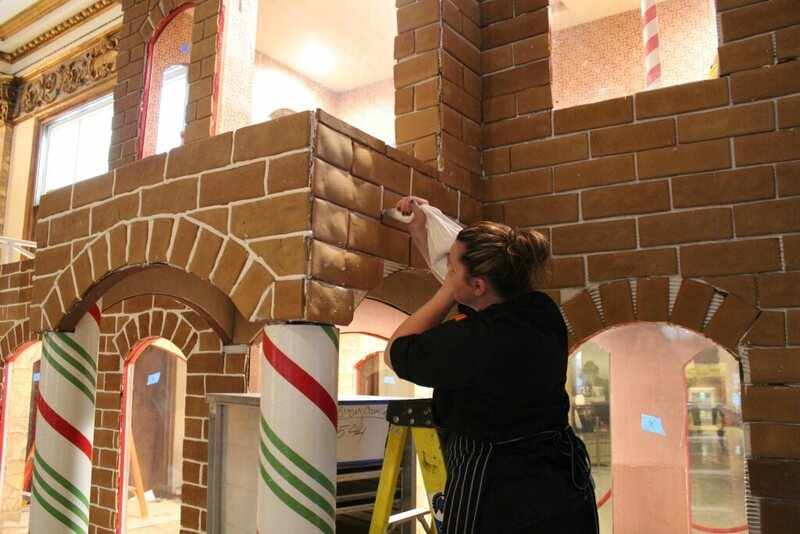 Royal icing is piped between bricks, for looks and stability.