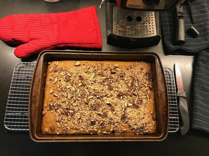 For the garlic-ginger-nutmeg triad, our chef added garlic to pumpkin bread with streusel.