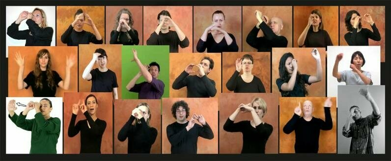"""The word """"astronomy"""" in 22 different sign languages."""