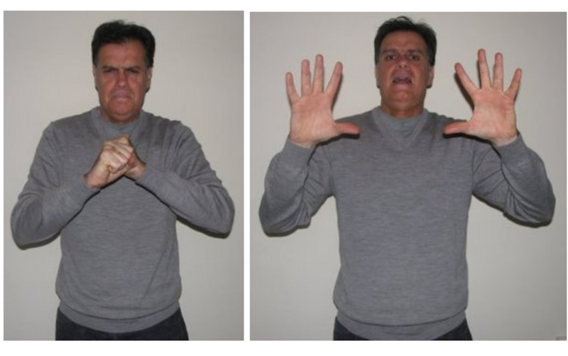 """""""Big Bang,"""" in French sign language, combines the signs for """"universe"""" and """"explosion."""""""