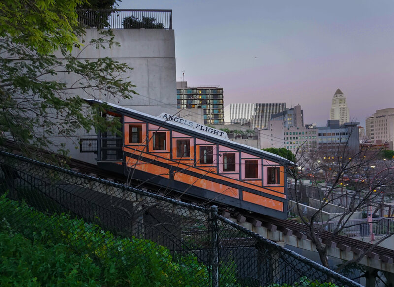 A historic funicular is once again transporting patrons up a steep Los Angeles slope.