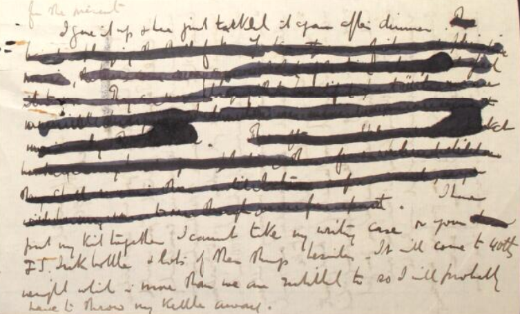 A heavily redacted section of an 1899 letter from veterinary surgeon Frederick Smith to his wife Mary Anne.