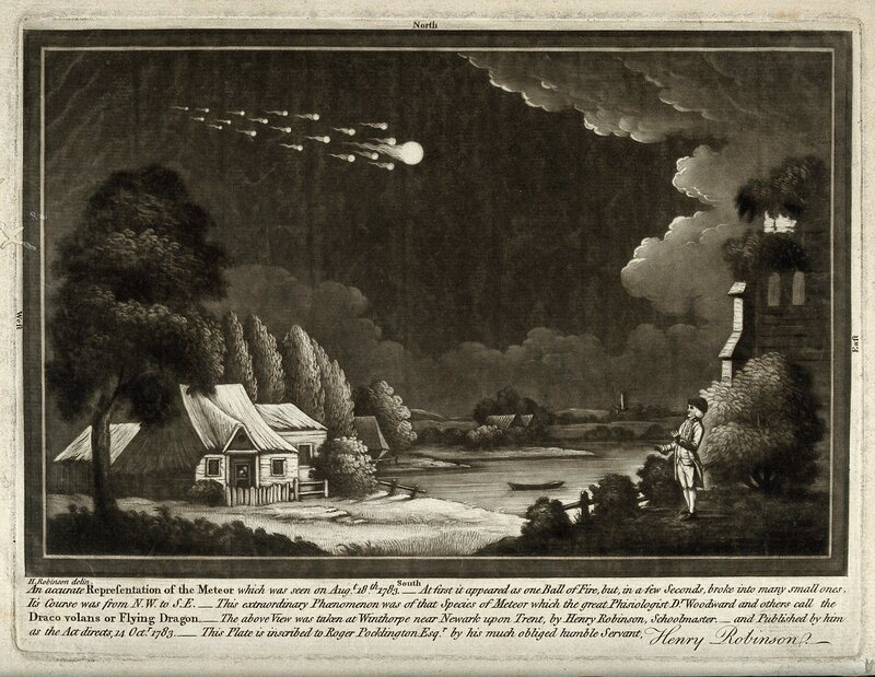 "A depiction of the ""Great Meteor"" that flashed in the sky above the British Isles in 1783."