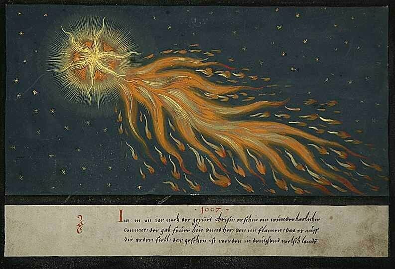 A depiction of a meteoric event from the <em>Augsburger Wunderzeichenbuch</em>, a 1552 German manuscript.
