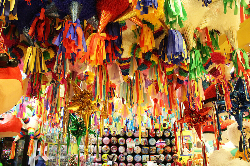 Traditional seven-point (representing the seven deadly sins) piñatas.