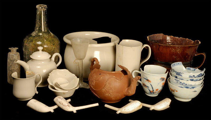 Ceramics, glassware, and clay pipes found at the site of an 18th-century coffeehouse in England.