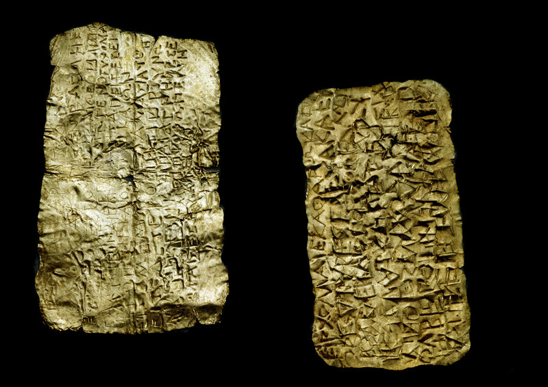 Orphic gold leaf tablets.