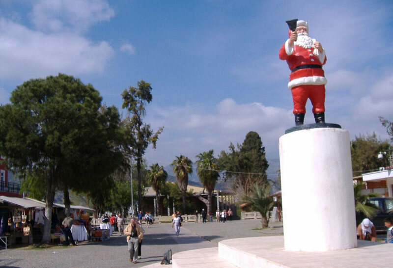 A sculpture of Santa Claus in the square in front of the St. Nicholas Church, Demre.