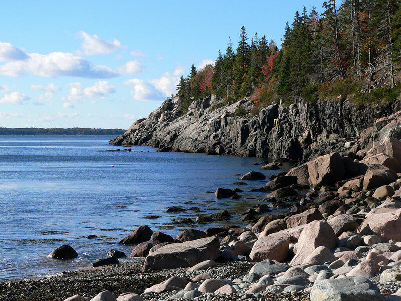 The coast of Mount Desert Island, not far from the Goddard Site.
