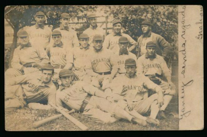 A postcard of the Scranton Miners, Graham's minor league team. Graham is in the middle row, third from left.