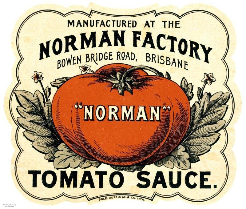 A label for tomato sauce manufactured in Brisbane, Australia.