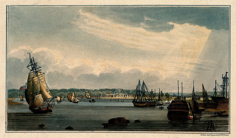 Ships near Royal Naval Hospital Greenwich, London.