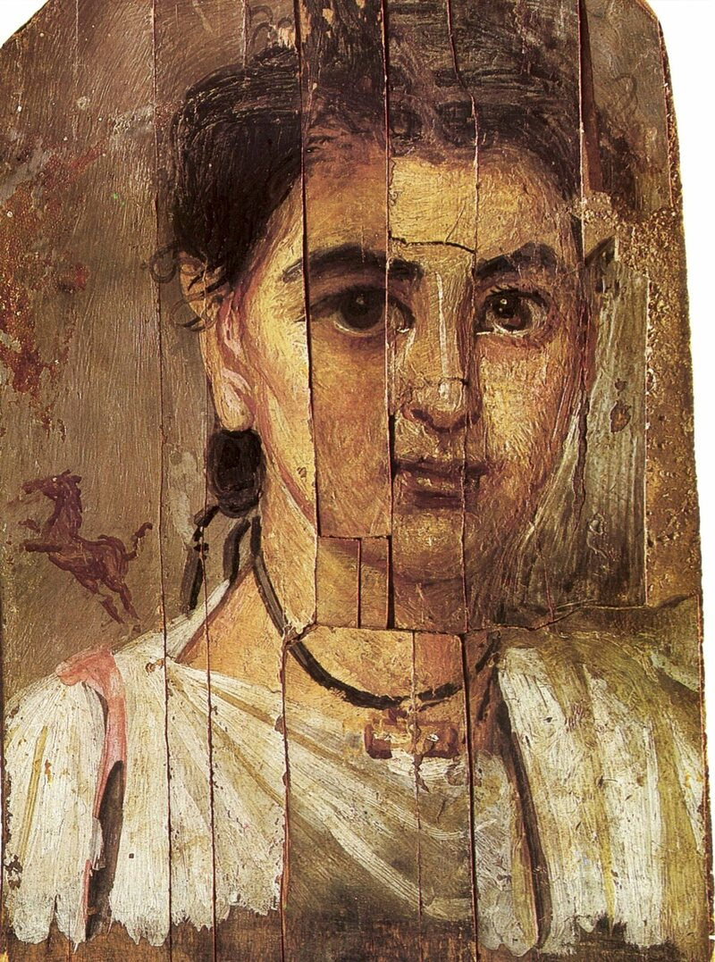 Roman-era Egyptian funerary portraits are now in the collections of museums around the world. This one is from the National Museum in Warsaw.
