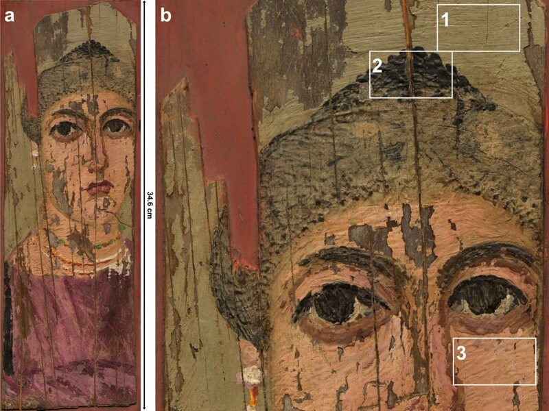 Detailed examination of the portrait revealed evidence of the tools probably used to paint it—including a fine painter's brush, a metal spoon, and a type of engraver.