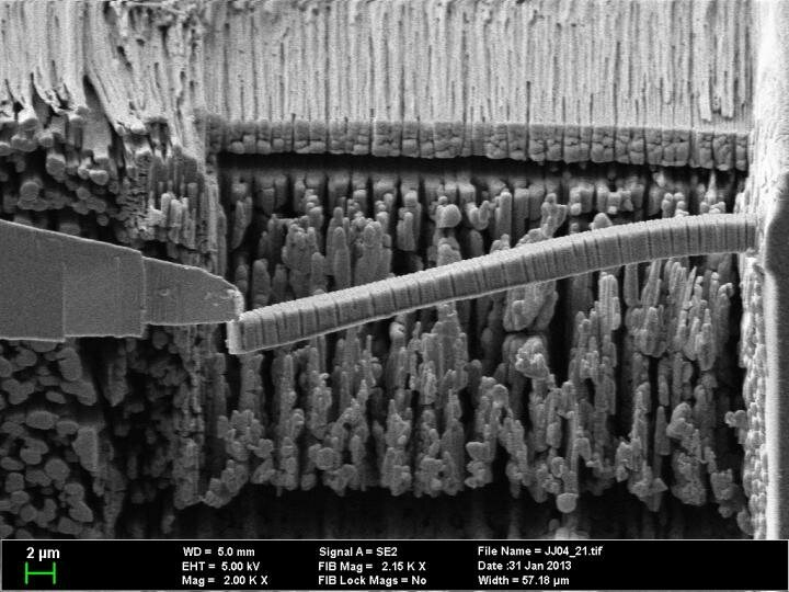 Researchers synthesized a fracture-resistant concrete, viewed here in a scanning electron microscope, enlarged 2,000 times.