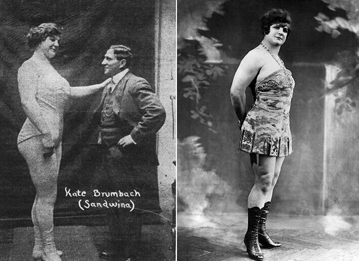 Left, Brumbach with her husband; right, photographed in the early 1920s.
