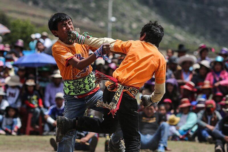 Two men at the Takanakuy celebrations, Chumbivilcas, Cuzco, Peru.