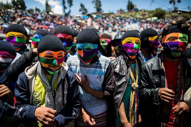 Men wear colorful masks called <em>uyach'ullu</em>.